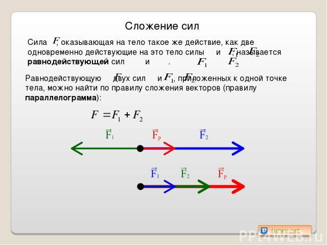 Сложение сил Сила , оказывающая на тело такое же действие, как две одновременно действующие на это тело силы и , называется равнодействующей сил и . Равнодействующую двух сил и , приложенных к одной точке тела, можно найти по правилу сложения вектор…