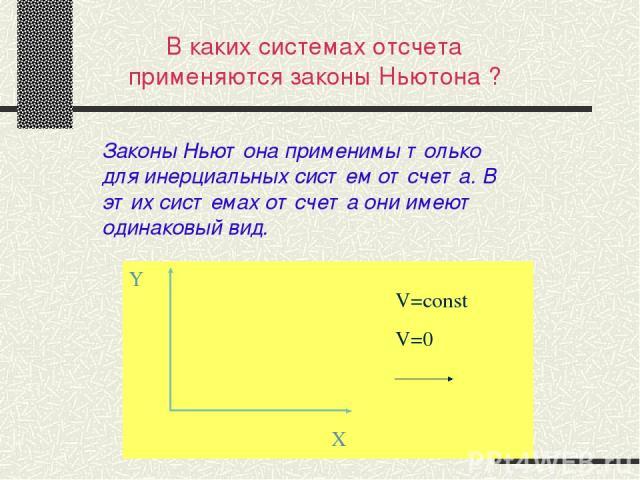 В каких системах отсчета применяются законы Ньютона ? Законы Ньютона применимы только для инерциальных систем отсчета. В этих системах отсчета они имеют одинаковый вид.