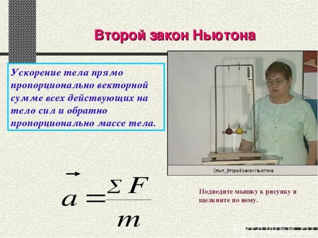 Второй закон Ньютона Ускорение тела прямо пропорционально векторной сумме всех действующих на тело сил и обратно пропорционально массе тела. Подведите мышку к рисунку и щелкните по нему.