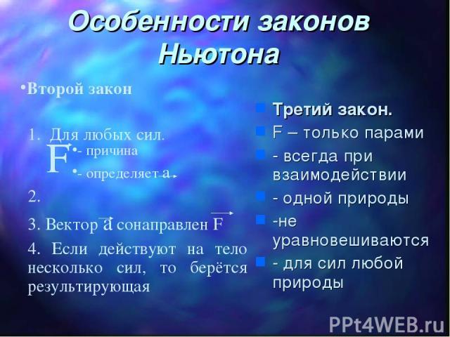 Третий закон. F – только парами - всегда при взаимодействии - одной природы -не уравновешиваются - для сил любой природы Особенности законов Ньютона