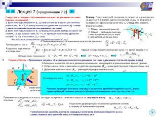 Лекция 7 (продолжение 7.2) Теорема Эйлера – Применение теоремы об изменении коли