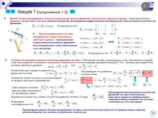 Лекция 7 (продолжение 7.3) 20 Момент количества движения точки или кинетический