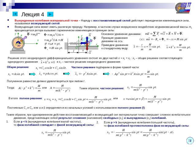 Лекция 4 Вынужденные колебания материальной точки – Наряду с восстанавливающей силой действует периодически изменяющаяся сила, называемая возмущающей силой. Возмущающая сила может иметь различную природу. Например, в частном случае инерционное возде…
