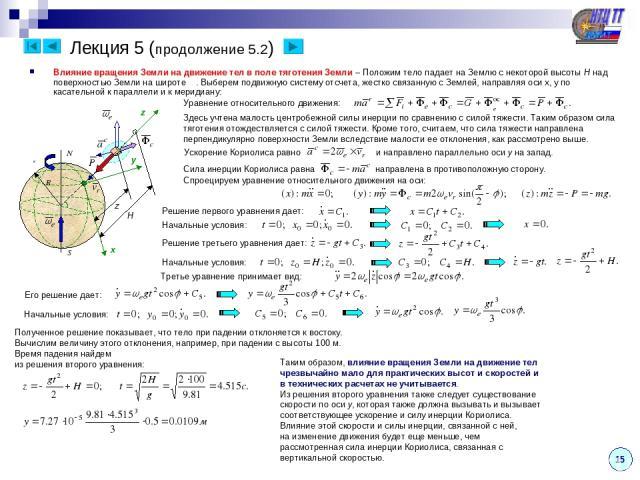 Лекция 5 (продолжение 5.2) 15 Влияние вращения Земли на движение тел в поле тяготения Земли – Положим тело падает на Землю с некоторой высоты H над поверхностью Земли на широте φ . Выберем подвижную систему отсчета, жестко связанную с Землей, направ…