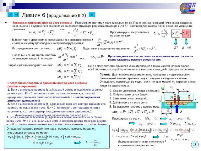 Лекция 6 (продолжение 6.2) 17 Теорема о движении центра масс системы – Рассмотрим систему n материальных точек. Приложенные к каждой точке силы разделим на внешние и внутренние и заменим их на соответствующие равнодействующие Fke и Fki. Запишем для …