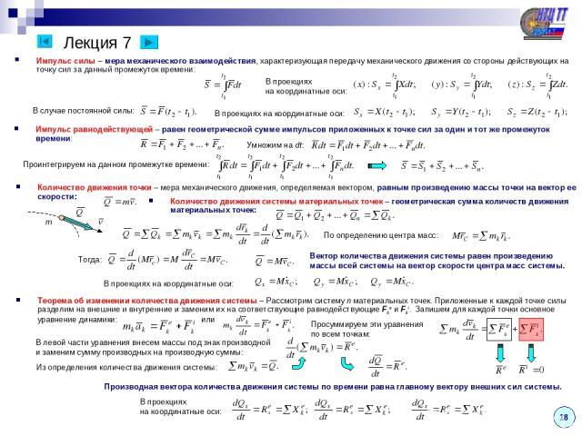 Лекция 7 Импульс силы – мера механического взаимодействия, характеризующая передачу механического движения со стороны действующих на точку сил за данный промежуток времени: 18 В проекциях на координатные оси: В случае постоянной силы: В проекциях на…