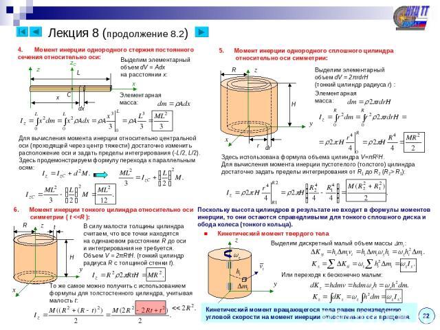 Лекция 8 (продолжение 8.2) 22 Момент инерции однородного стержня постоянного сечения относительно оси: x z L Выделим элементарный объем dV = Adx на расстоянии x: x dx Элементарная масса: Для вычисления момента инерции относительно центральной оси (п…