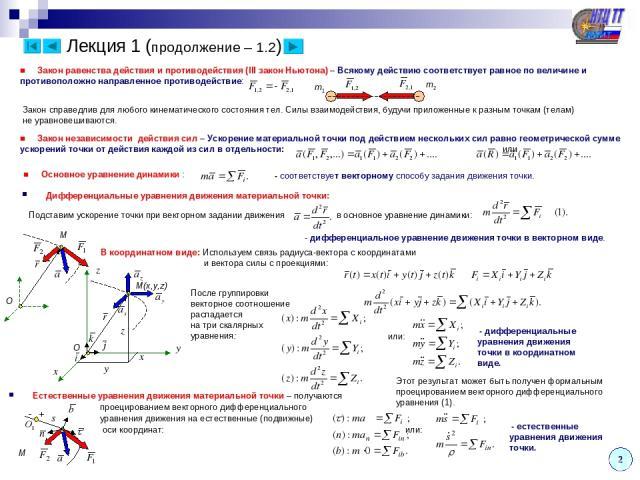 Лекция 1 (продолжение – 1.2) Дифференциальные уравнения движения материальной точки: - дифференциальное уравнение движения точки в векторном виде. - дифференциальные уравнения движения точки в координатном виде. Этот результат может быть получен фор…