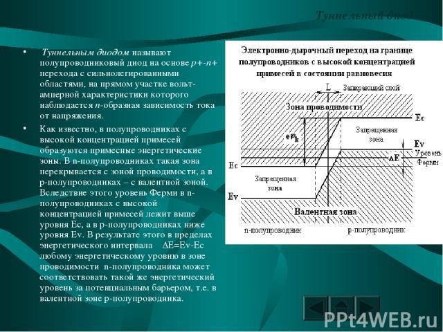 Туннельный диод. Туннельным диодом называют полупроводниковый диод на основе p+-n+ перехода с сильнолегированными областями, на прямом участке вольт-амперной характеристики которого наблюдается n-образная зависимость тока от напряжения. Как известно…