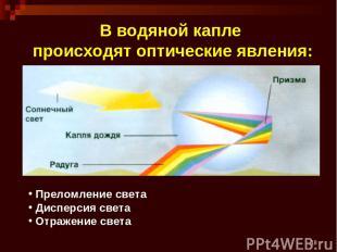 * В водяной капле происходят оптические явления: Преломление света Дисперсия све