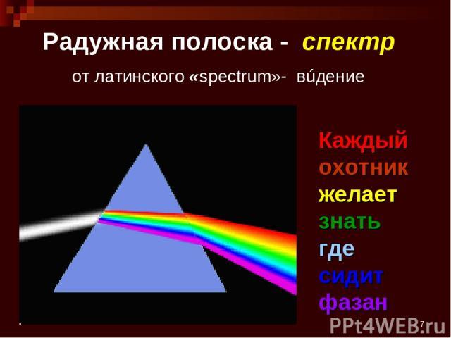 * Радужная полоска - спектр от латинского «spectrum»- вúдение Каждый охотник желает знать где сидит фазан