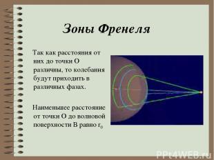 Зоны Френеля Так как расстояния от них до точки О различны, то колебания будут п