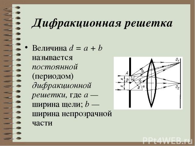Дифракционная решетка Величина d = a + b называется постоянной (периодом) дифракционной решетки, где а — ширина щели; b — ширина непрозрачной части