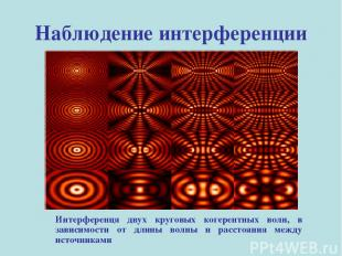 Наблюдение интерференции Интерференця двух круговых когерентных волн, в зависимо