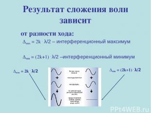 Результат сложения волн зависит от разности хода: Δмах = 2k . λ/2 – интерференци