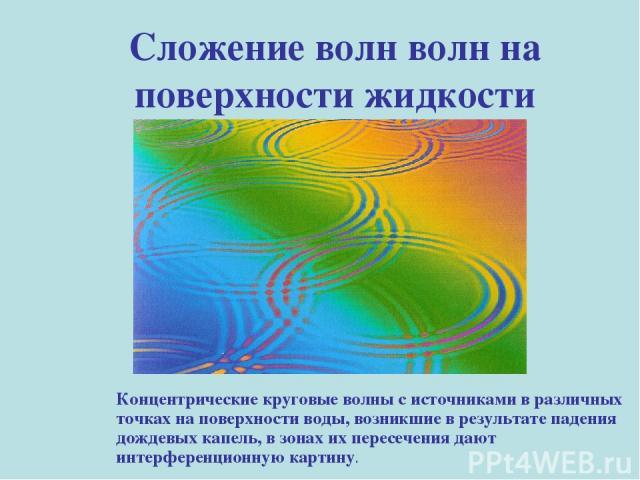 Сложение волн волн на поверхности жидкости Концентрические круговые волны с источниками в различных точках на поверхности воды, возникшие в результате падения дождевых капель, в зонах их пересечения дают интерференционную картину.