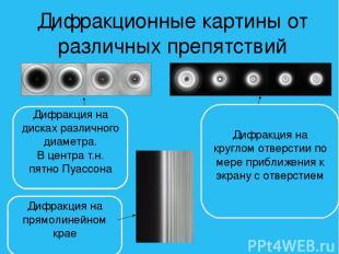 Дифракционные картины от различных препятствий Дифракция на дисках различного ди