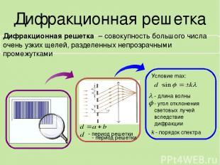 Дифракционная решетка Условие max: - длина волны - угол отклонения световых луче