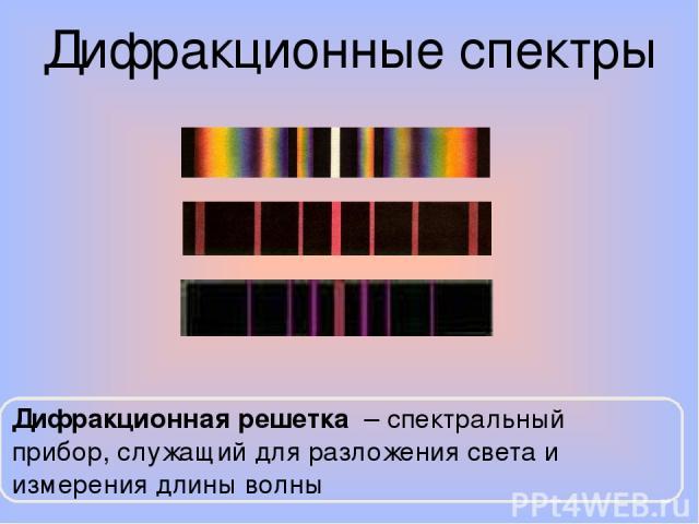 Дифракционные спектры Дифракционная решетка – спектральный прибор, служащий для разложения света и измерения длины волны