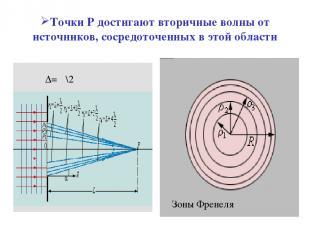 Точки Р достигают вторичные волны от источников, сосредоточенных в этой области