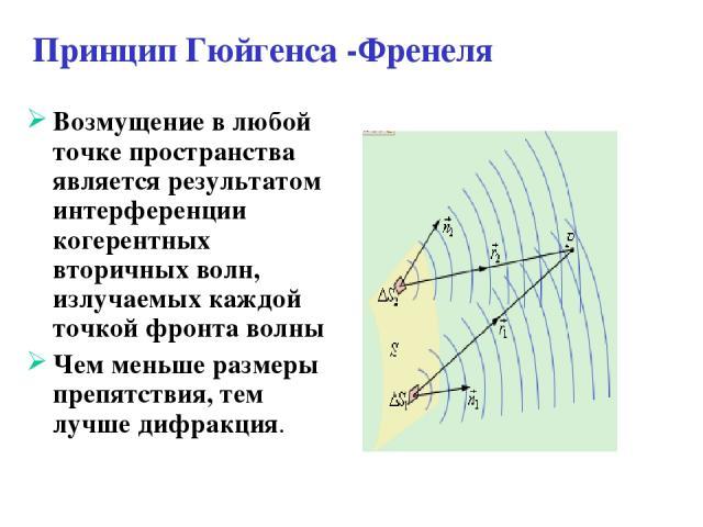 Принцип Гюйгенса -Френеля Возмущение в любой точке пространства является результатом интерференции когерентных вторичных волн, излучаемых каждой точкой фронта волны Чем меньше размеры препятствия, тем лучше дифракция.