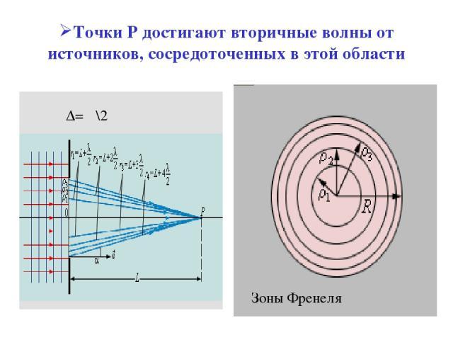 Точки Р достигают вторичные волны от источников, сосредоточенных в этой области Зоны Френеля Δ= λ\2