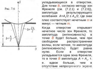 Рис. 7.6 укладывающихся в отверстии. Для точки В, согласно методу зон Френеля (с