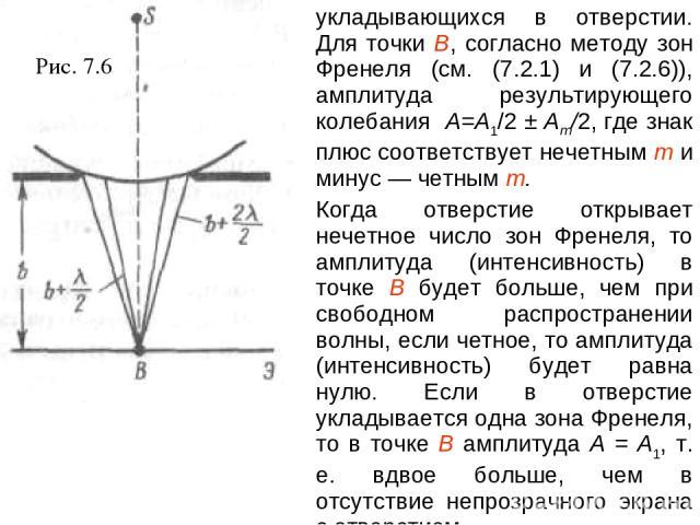 Рис. 7.6 укладывающихся в отверстии. Для точки В, согласно методу зон Френеля (см. (7.2.1) и (7.2.6)), амплитуда результирующего колебания A=A1/2 ± Am/2, где знак плюс соответствует нечетным т и минус — четным т. Когда отверстие открывает нечетное ч…