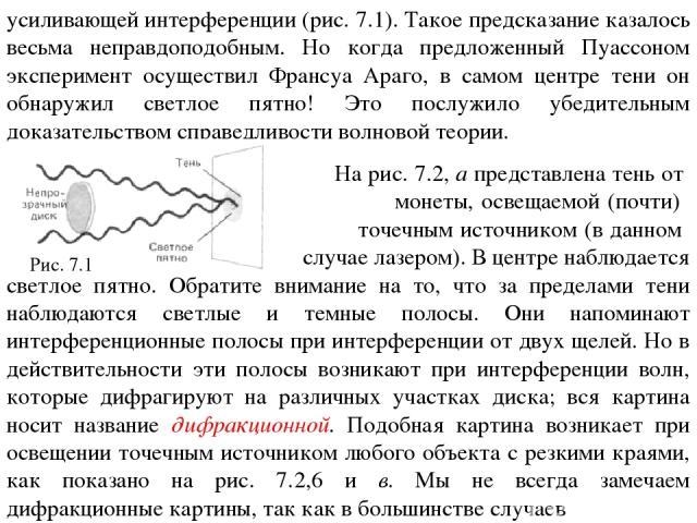 усиливающей интерференции (рис. 7.1). Такое предсказание казалось весьма неправдоподобным. Но когда предложенный Пуассоном эксперимент осуществил Франсуа Араго, в самом центре тени он обнаружил светлое пятно! Это послужило убедительным доказательств…