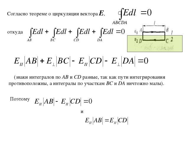 Согласно теореме о циркуляции вектора Е, откуда (знаки интегралов по АВ и CD разные, так как пути интегрирования противоположны, а интегралы по участкам ВС и DA ничтожно малы). и Поэтому