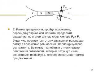 3) Рамка вращается и, пройдя положение, перпендикулярное оси магнита, продолжит