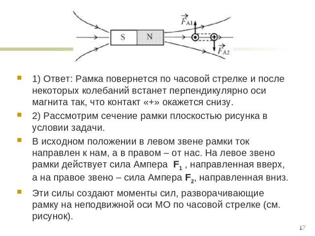 1) Ответ: Рамка повернется по часовой стрелке и после некоторых колебаний встанет перпендикулярно оси магнита так, что контакт «+» окажется снизу. 2) Рассмотрим сечение рамки плоскостью рисунка в условии задачи. В исходном положении в левом звене ра…