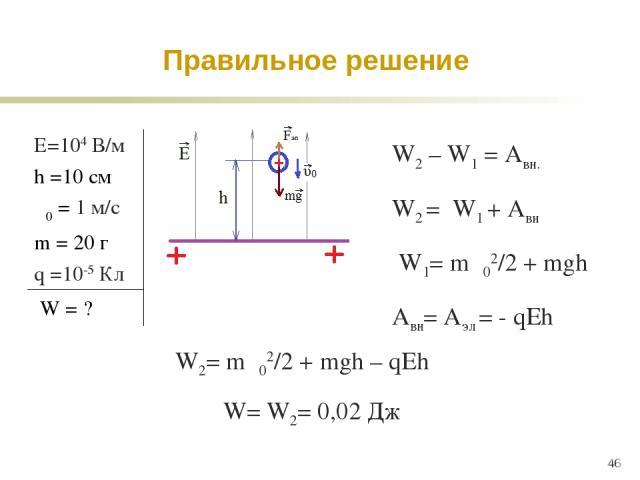 * W2 – W1 = Aвн. W2 = W1 + Aвн W1= mυ02/2 + mgh Aвн= Aэл = - qEh W2= mυ02/2 + mgh – qEh Правильное решение W= W2= 0,02 Дж Е=104 В/м h =10 см υ0 = 1 м/c m = 20 г q =10-5 Кл W = ?