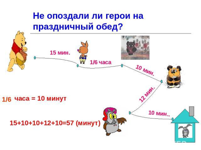 Не опоздали ли герои на праздничный обед? часа = 10 минут 15 мин. часа 10 мин. 12 мин. 10 мин.. 1/6 1/6 15+10+10+12+10=57 (минут)