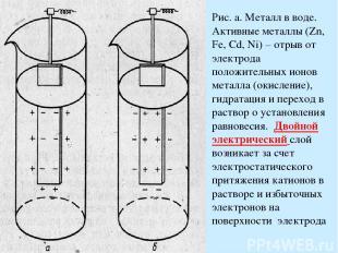 Рис. а. Металл в воде. Активные металлы (Zn, Fe, Cd, Ni) – отрыв от электрода по