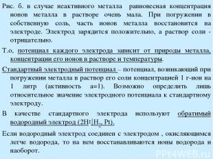 Рис. б. в случае неактивного металла равновесная концентрация ионов металла в ра