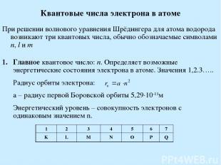 Квантовые числа электрона в атоме При решении волнового уравнения Шрёдингера для