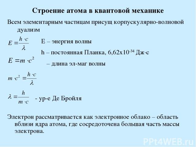 Строение атома в квантовой механике Всем элементарным частицам присущ корпускулярно-волновой дуализм Е – энергия волны h – постоянная Планка, 6,62х10-34 Дж·с λ – длина эл-маг волны - ур-е Де Бройля Электрон рассматривается как электронное облако – о…