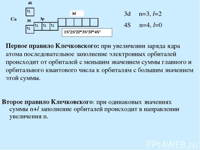 Первое правило Клечковского: при увеличении заряда ядра атома последовательное заполнение электронных орбиталей происходит от орбиталей с меньшим значением суммы главного и орбитального квантового числа к орбиталям с большим значением этой суммы. Вт…