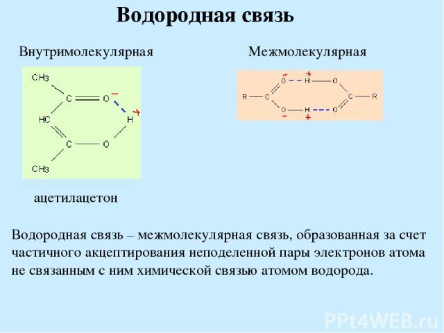 Водородная связь Водородная связь – межмолекулярная связь, образованная за счет частичного акцептирования неподеленной пары электронов атома не связанным с ним химической связью атомом водорода.