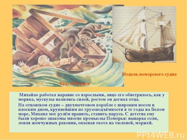 Михайло работал наравне со взрослыми, лицо его обветрилось, как у моряка, мускулы налились силой, ростом он догнал отца. На отцовском судне – двухмачтовом корабле с широким носом и плоским дном, крупнейшим по грузоподъёмности в те годы на Белом море…