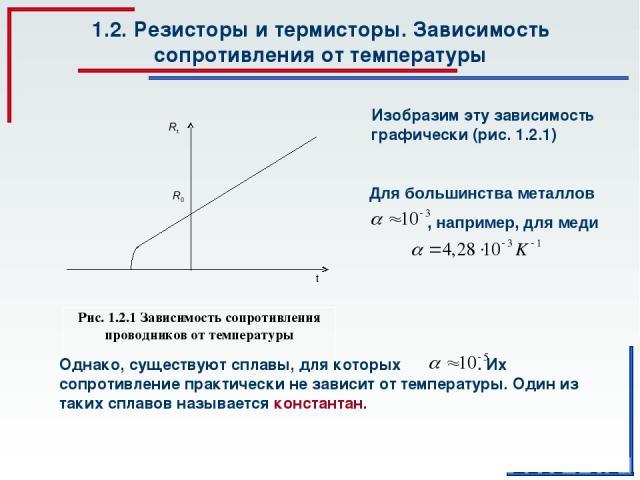 1.2. Резисторы и термисторы. Зависимость сопротивления от температуры Рис. 1.2.1 Зависимость сопротивления проводников от температуры Изобразим эту зависимость графически (рис. 1.2.1)