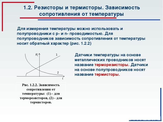 1.2. Резисторы и термисторы. Зависимость сопротивления от температуры Для измерения температуры можно использовать и полупроводники с р- и n- проводимостью. Для полупроводников зависимость сопротивления от температуры носит обратный характер (рис. 1…