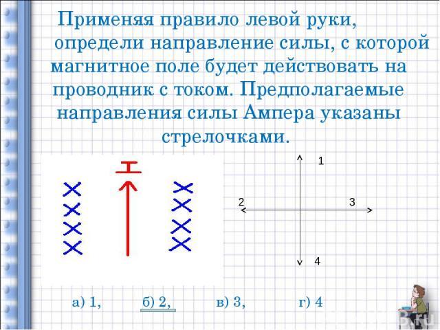 Применяя правило левой руки, определи направление силы, с которой магнитное поле будет действовать на проводник с током. Предполагаемые направления силы Ампера указаны стрелочками. 1 2 3 4 а) 1, б) 2, в) 3, г) 4