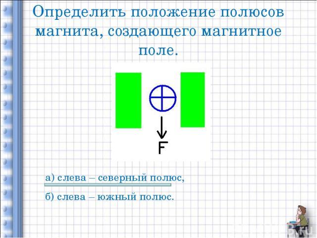 Определить положение полюсов магнита, создающего магнитное поле. а) слева – северный полюс, б) слева – южный полюс.