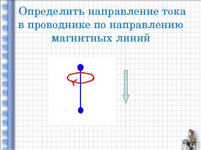 Определить направление тока в проводнике по направлению магнитных линий