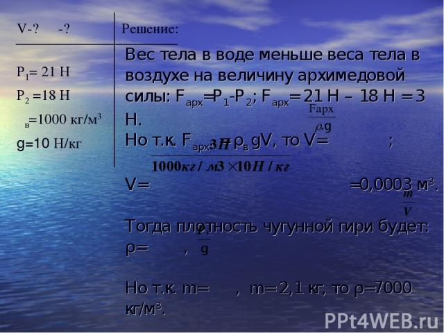 V-? ρ -? Решение: Р1= 21 Н Р2 =18 Н ρв=1000 кг/м3 g=10 H/кг Вес тела в воде меньше веса тела в воздухе на величину архимедовой силы: Fарх=Р1-Р2; Fарх= 21 Н – 18 Н = 3 Н. Но т.к. Fарх. = ρв gV, то V= ; V= =0,0003 м3. Тогда плотность чугунной гири буд…