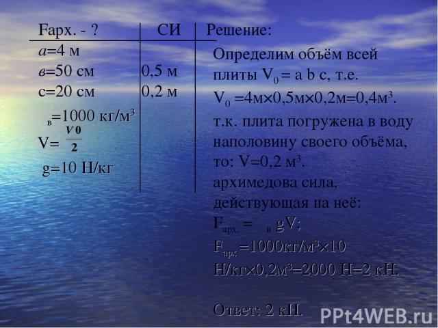 Fарх. - ? СИ Решение: а=4 м в=50 см 0,5 м с=20 см 0,2 м ρв=1000 кг/м3 V= g=10 H/кг Определим объём всей плиты V0 = a b c, т.е. V0 =4м×0,5м×0,2м=0,4м3. т.к. плита погружена в воду наполовину своего объёма, то: V=0,2 м3. архимедова сила, действующая н…