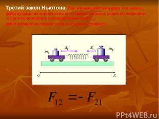Третий закон Ньютона. При взаимодействии двух тел сила F21, действующая на второ