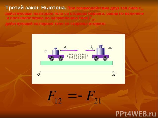 Третий закон Ньютона. При взаимодействии двух тел сила F21, действующая на второе тело со стороны первого, равна по величине и противоположна по направлению силе F12, действующей на первое тело со стороны второго: F=ma. (2) F12=–F21,
